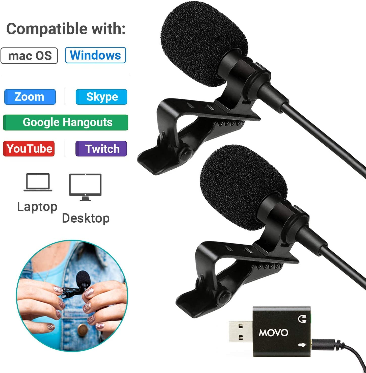 Movo Sevenoak Dual Headed Universal USB Computer Microphone with USB Adapter - Compatible with Laptop, Desktop, PC and Mac, Smartphones, Cameras, Podcasting, Gaming, Remote Work and Laptop Microphone