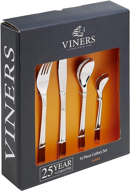 Imagen deViners Breeze - Cubertería de Acero Inoxidable (26 Piezas, Incluye 2 cucharas de Servir, Caja de Regalo)