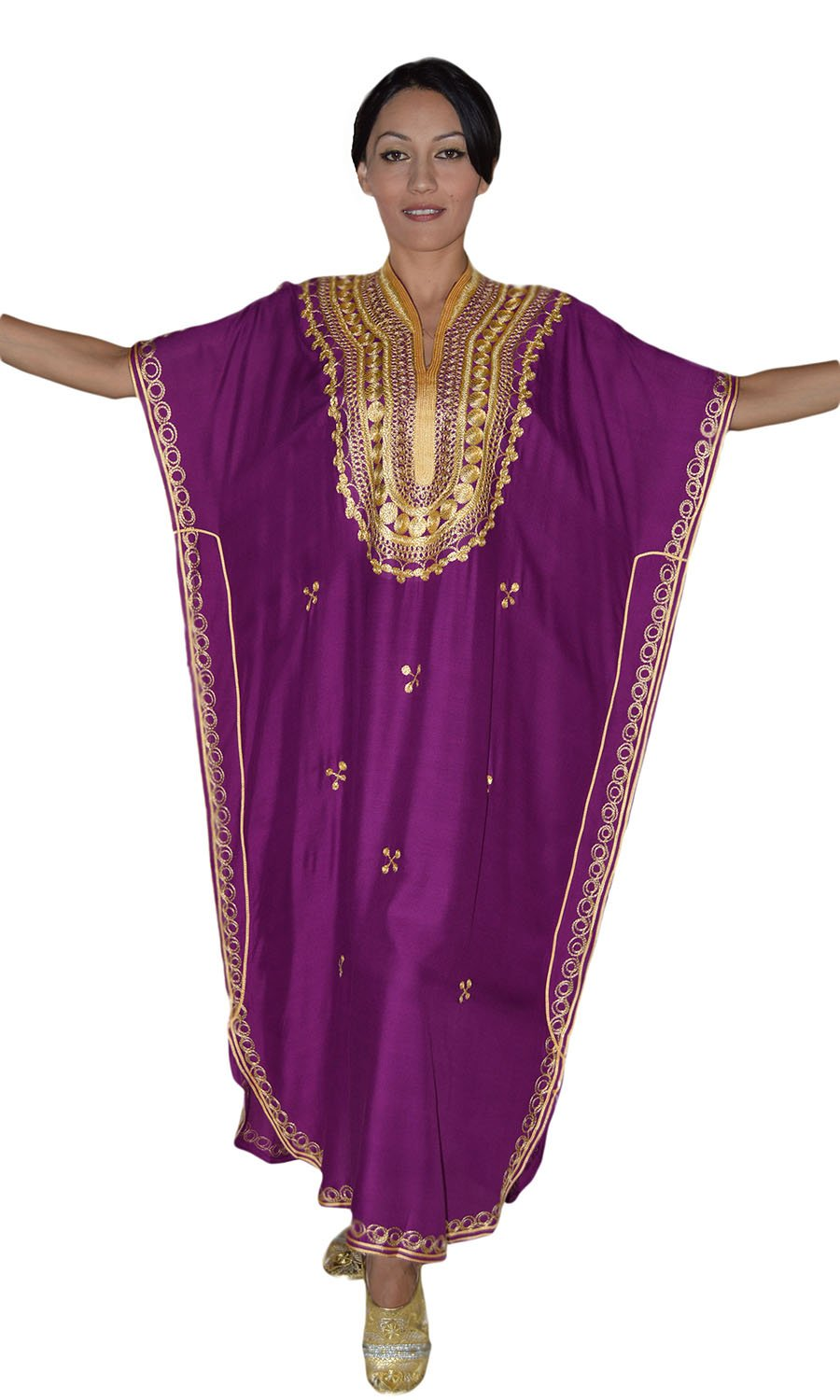 Moroccan Caftan Hand Made Top Quality Breathable Cotton with Gold Hand Embroidery Long Lenght Magenta