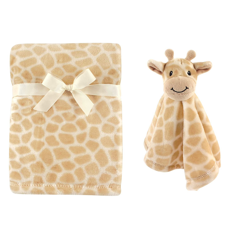Hudson Baby Unisex Baby Plush Blanket with Security Blanket, Giraffe, One Size