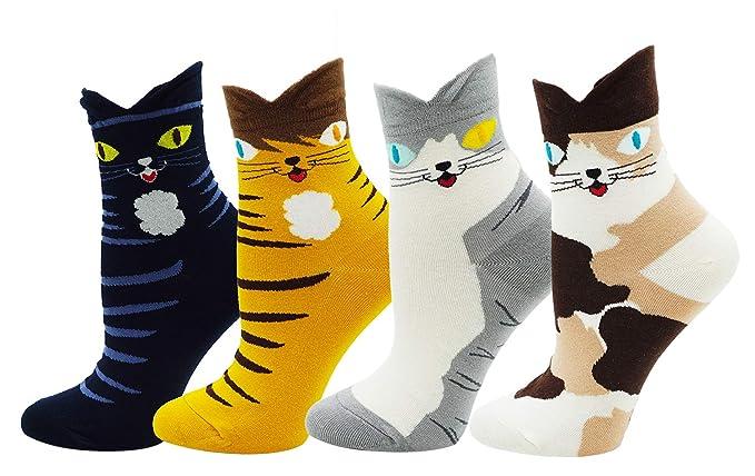690c28a80140 Bienvenu Women's Lady's 4 Pack Cat Print Cotton Casual Socks, Cat 4 Pairs,  One
