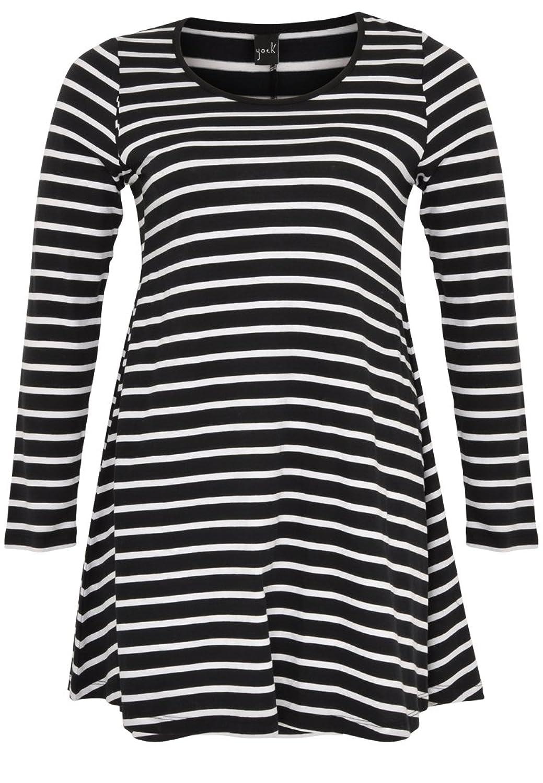 Yoek Damen T-shirt mit Druck Streifen Plus Size