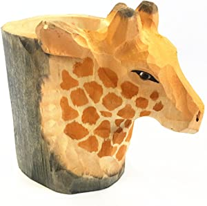 Cimostar Premium Handmade Wooden Pencil Holder,Cute Design for Desk, Office, and Home(Giraffe)