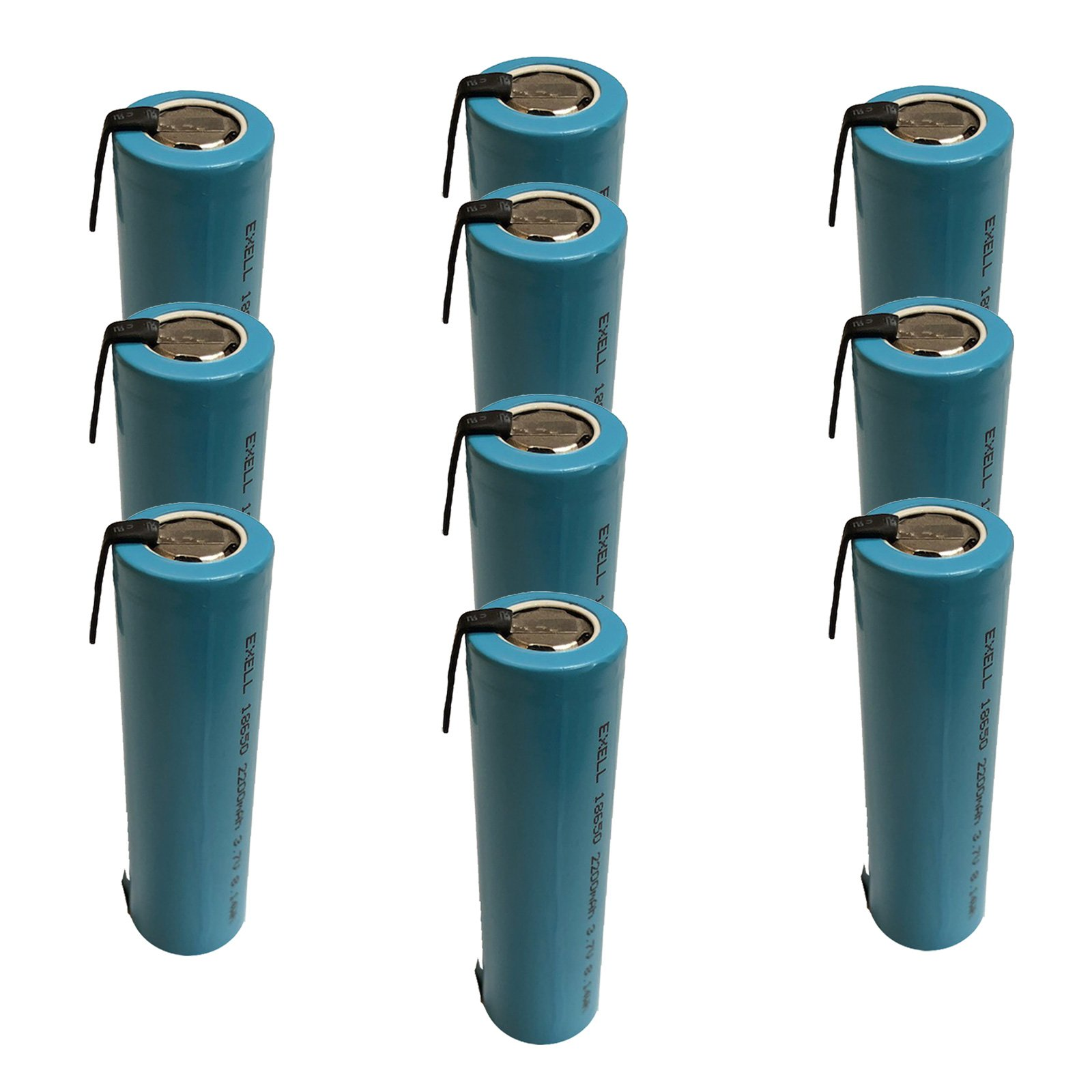 10x Exell 3.7V ICR18650 2200mAh Battery with Nickel Tabs For Solar Path Lights