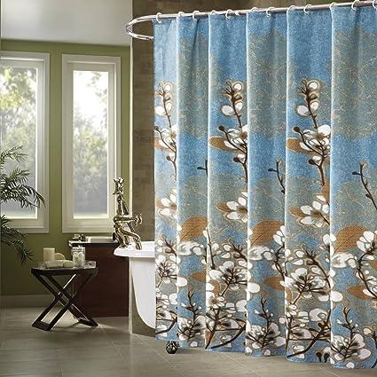 Ufaitheart 72quot X 75quot Blue Shower Curtain Fabric Water Repellent Bathroom