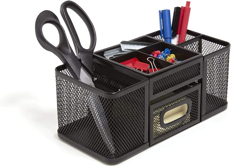 1InTheOffice Desk Supplies Organizer, Desk Caddy 7-Compartment Wire Mesh Accessory Holder, Matte Black