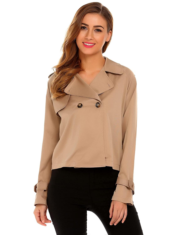 Venena Women's Button Lapel Long Sleeve Jacket Short Trench Coat Jacket