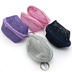 4PCS Small Zipper Mesh Makeup Pouch Bags for 3 Beauty Blenders/Lipsticks/Earbuds