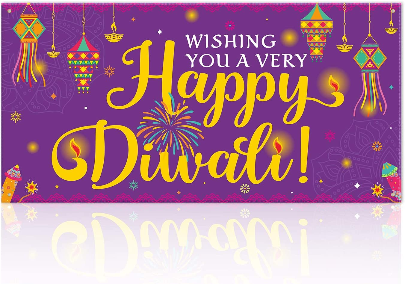 Diwali Fabric Banner, Wishing You A Very Happy Diwali Yard Signs Festival of Lights Indian Festival Deepavali Garden Porch Decor…