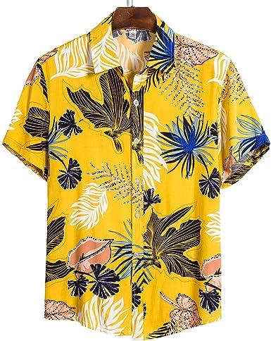 Shujin Camisa hawaiana de verano para hombre, camisa de playa ...