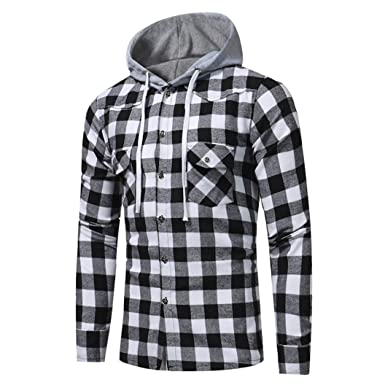 0261f40c561e Ankola Men s Flannel Plaid Slim Fit Long Sleeve T Shirt Hoodie with Front  Pockets (L