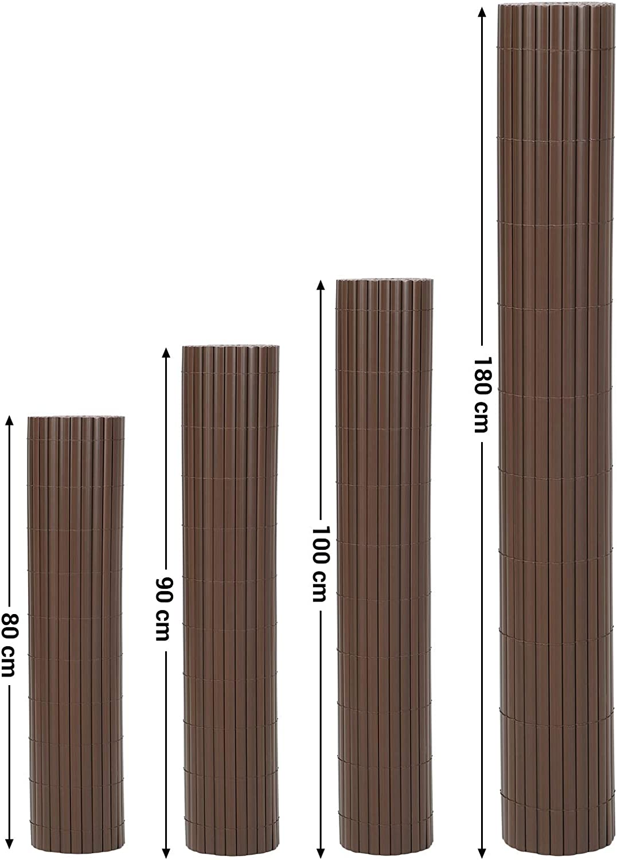 PVC GPF085B 5 x 0,8 m SONGMICS Valla de PVC Persiana de Balc/ón de Jard/ín Largo x Ancho Persiana de Exterior Valla con Nervaduras Reforzado Marr/ón