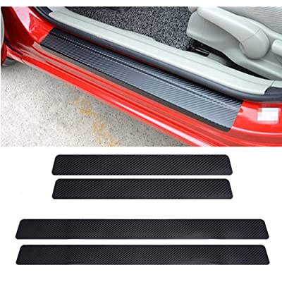 LANZMYAN Car Door Sill Protector Universal 3D Carbon Fiber Scuff Protective Door Sill Cover Panel Sticker 4PCS: Automotive