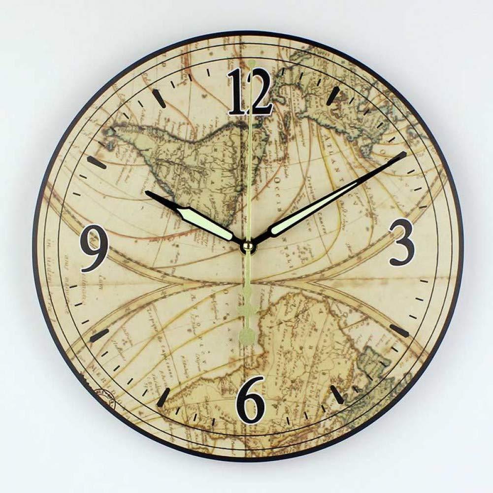 Drygdjy Horloge Murale De Mode Carte Du Monde Grande Horloge
