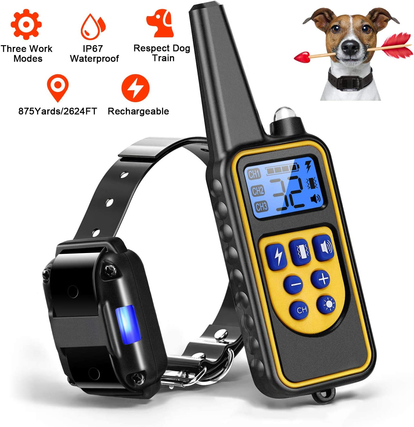 Moclever Dog Training Collars, Upgraded Dog Shock Collar with Remote 2624FT, Pet Trainer Collars for Dog IP67 Waterproof, Rechargeable w Beep, 99 Levels Vibration Shock Modes for Small, Medium, Large