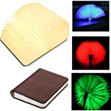 MonoDeal USB Rechargeable Magnetic Wooden Folding Book Lamp Reading Lamp 1700mAh Lithium Batteries -4 Colors
