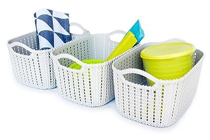 Honla Weaving Rattan Plastic Storage Baskets/Bins Organizer With  Handles,Set Of 3,