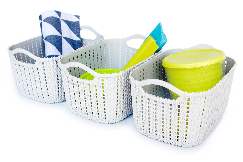 Honla Weaving Rattan Plastic Storage Baskets/Bins Organizer with Handles,Set of 3,Gray