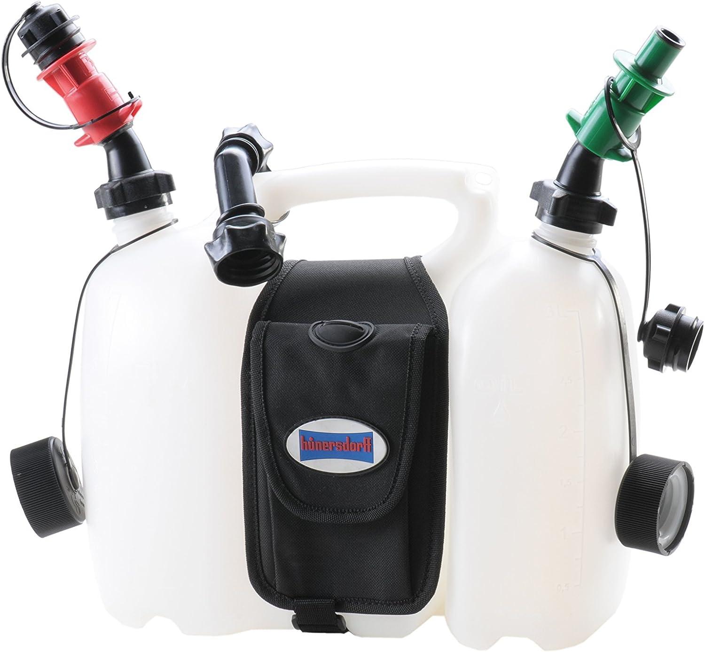 Hünersdorff Profi Doppelkanister Kombikanister Für Kraftstoff Und Öl Mit Satteltasche Und Zwei Einfüllsystemen 6 3 Liter Un Zulassung Made In Germany Auto