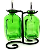 Oil & Vinegar Dispenser Set, Decorative Olive Oil Bottles or Liquid Soap Container G9FR Lime Green Roma Bottle. Stainless Steel Pour Spout, Cork and Black Metal Stand included