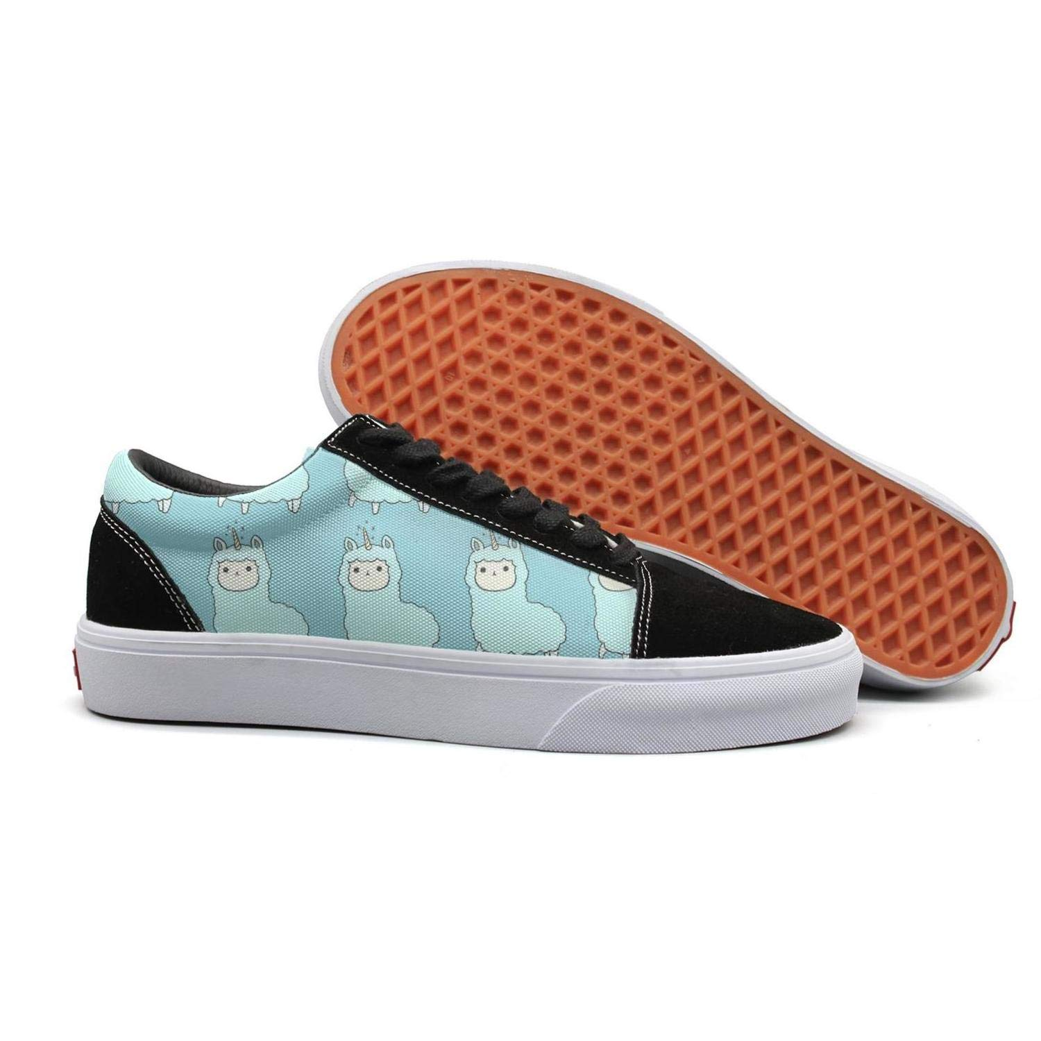Peru Llama Cartoon Alpaca Woman Flat Lace-up Sneaker for Womens Highly Breathable Budge Leather Shoe