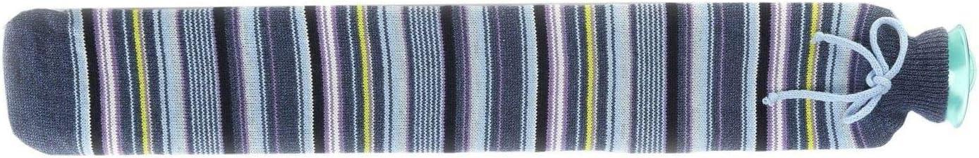 Drink /& Shake Durable Faux Soft Luxurious Warmies Patterned Extra Long Hot Water Bottle Blue Stripe 78cm x 12cm