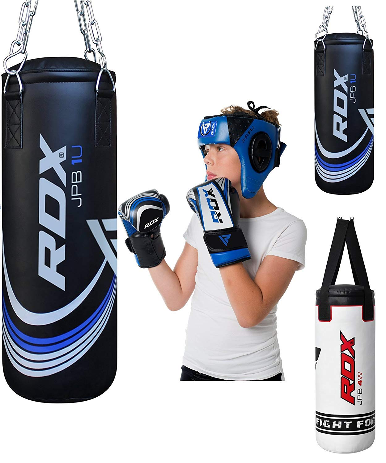 RDX Kids Punching Bag Filled Set Junior Kick Boxing Heavy MMA Training Youth Gloves Punch Mitts Hanging Chain Ceiling Muay Thai Martial Arts 2FT by RDX