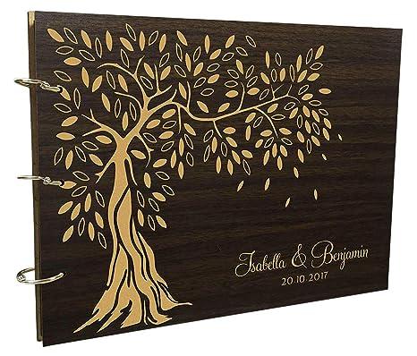 13cc8e0ac59ba Wood Engraved Custom Scrapbook Personalized Handmade Tree Design Wedding  Guest Book