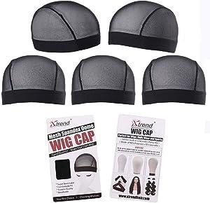 5 Pack Black Dome Cornrow Wig Caps Elastic Nylon Breathable Black Mesh net for Black women and Men