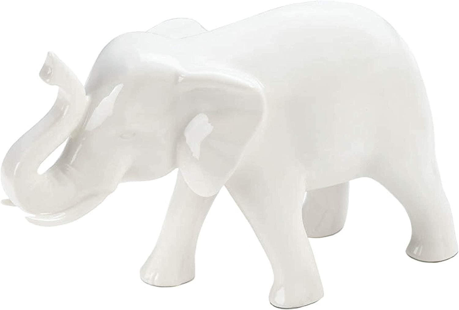 Sleek White Ceramic Elephant 7.25x3x4.75