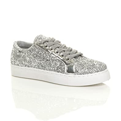 5338ac81060 Womens Ladies Flat lace up Glitter Sparkly Trainers Sneakers Plimsolls Size   Amazon.co.uk  Shoes   Bags