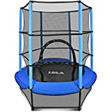 "LBLA Kids Trampoline, 55"" Mini Trampoline for Kids with Enclosure Net and Safety Pad, Heavy Duty Frame Round Trampoline with"