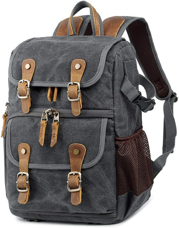 Camera Backpack Photography Bag SLR Digital Backpack Waterproof Large Capacity Wax Dye Canvas Backpack Outdoor Camera Bag For Women And Men Camera Travel Bag Color : Gray , Size : 42x32x19cm