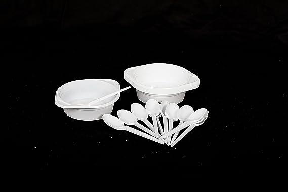 Plástico Plato de sopa Cuenco Juego compuesto de 100 desechables plástico - Bol para sopa (500 ml + 100 Cuchara desechable plástico: Amazon.es: Hogar