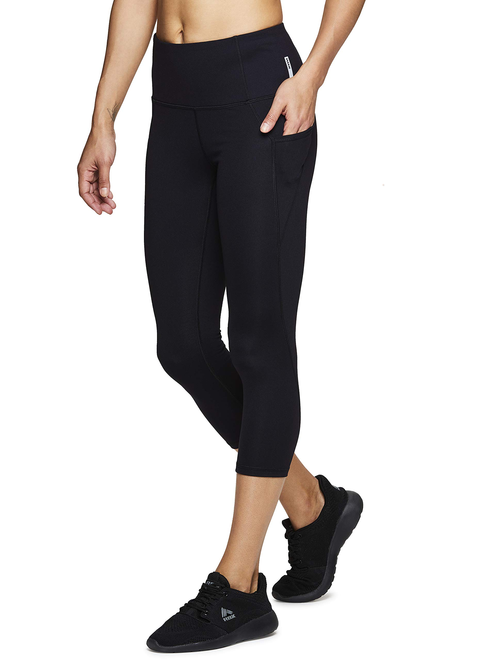 RBX Active Women's Power Hold High Waist Capri Leggings w/Pockets S19 Black M by RBX