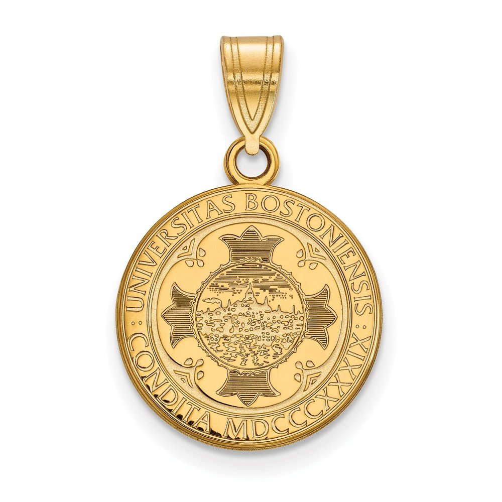 Solid 925 Sterling Silver with Gold-Toned Boston University Medium Crest Pendant 15mm x 24mm
