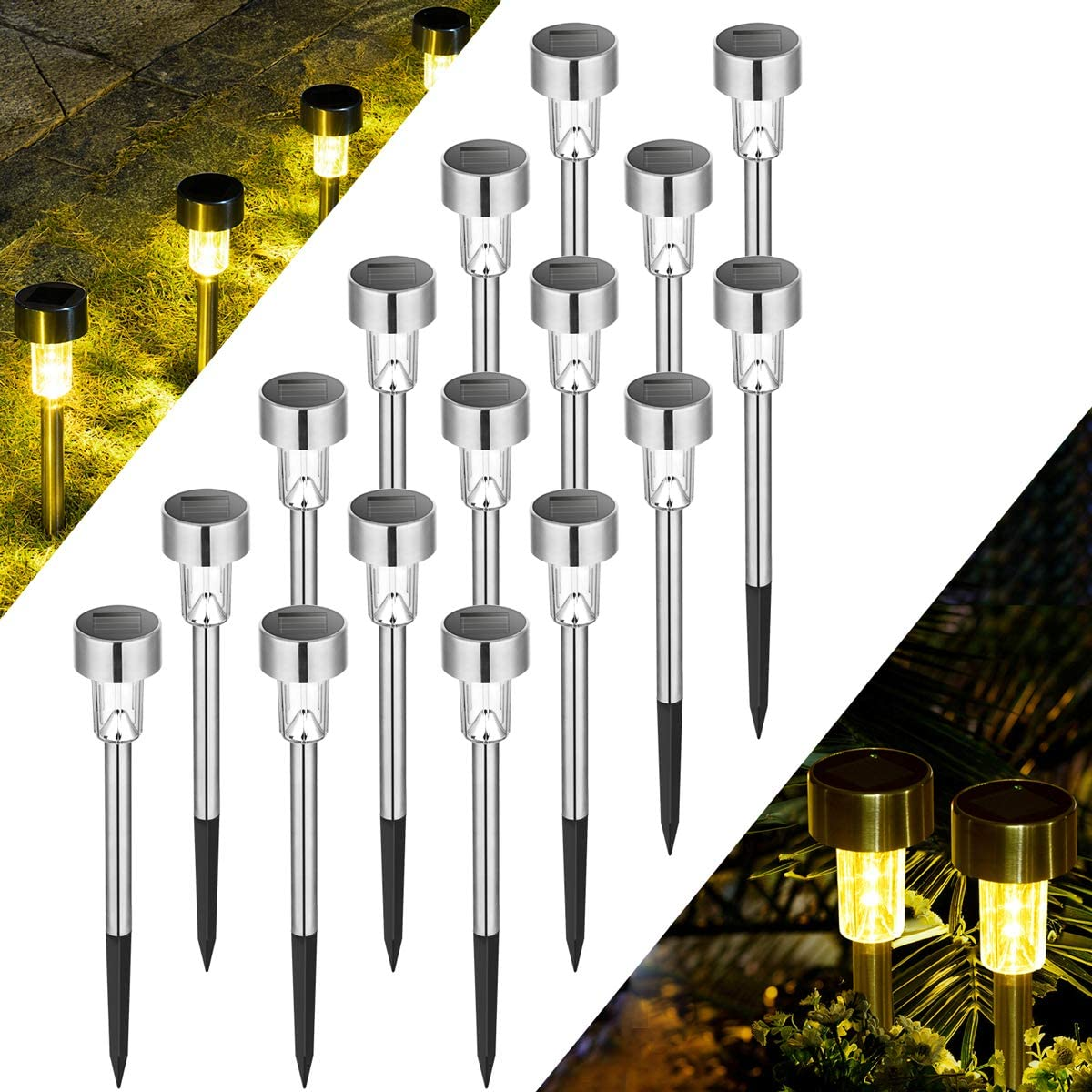 Solpex 16 Pack Solar Lights Outdoor Pathway ,Solar Walkway Lights Outdoor,Garden Led Lights for Landscape/ Patio/Lawn/Yard/Driveway-Warm White (Stainless Steel)