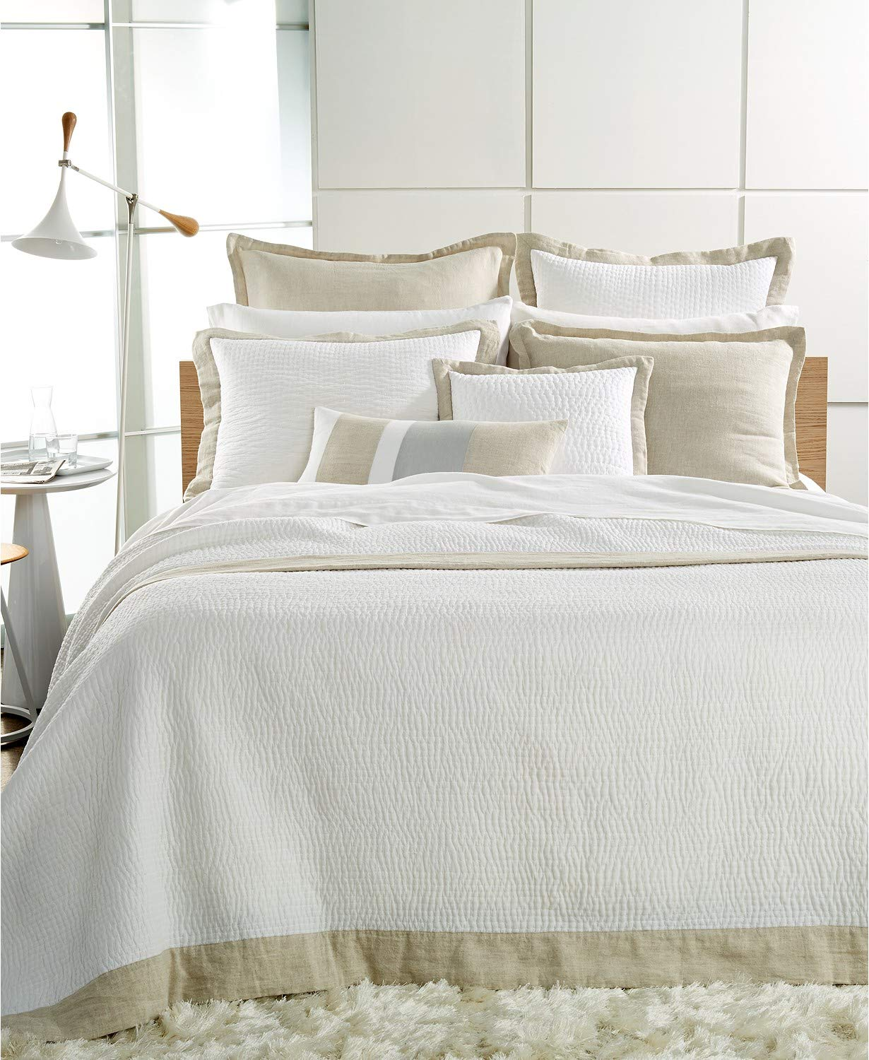 Hotel Collection Voile Quilted Cotton / Linen King Coverlet Natural