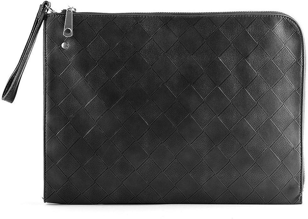 Shozafia Woven Envelope Bag Men Genuine Leather Clutch Purse Wrist With  Wristlet dd245b2ba43a9