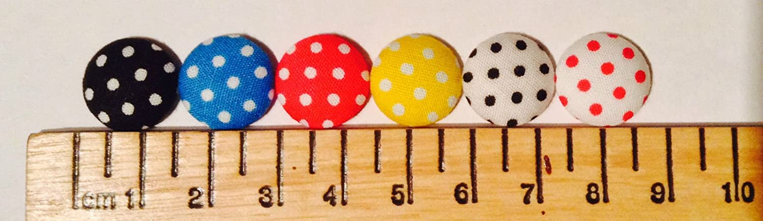 Buttons Round Fabric Covered Polka Dot Mixed Colours 15mm Gift Box x225