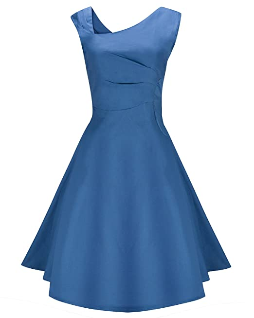 ZiXing Vestido Vintage de Mujer sin Mangas Estilo Retro Rockabilly Clásico para Fiesta Cóctel Azul Large