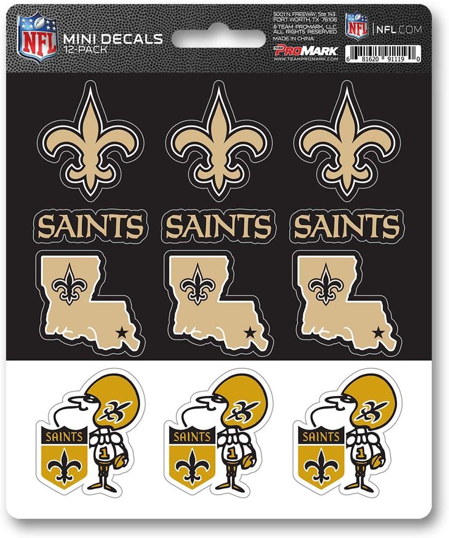 Team Colors One Size FANMATS NFL New Orleans Saints DecalDecal Set Mini 12 Pack