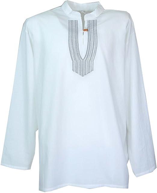 GURU-SHOP, Camisa Yoga Bordada, Camisa Goa - Blanco/Negro ...