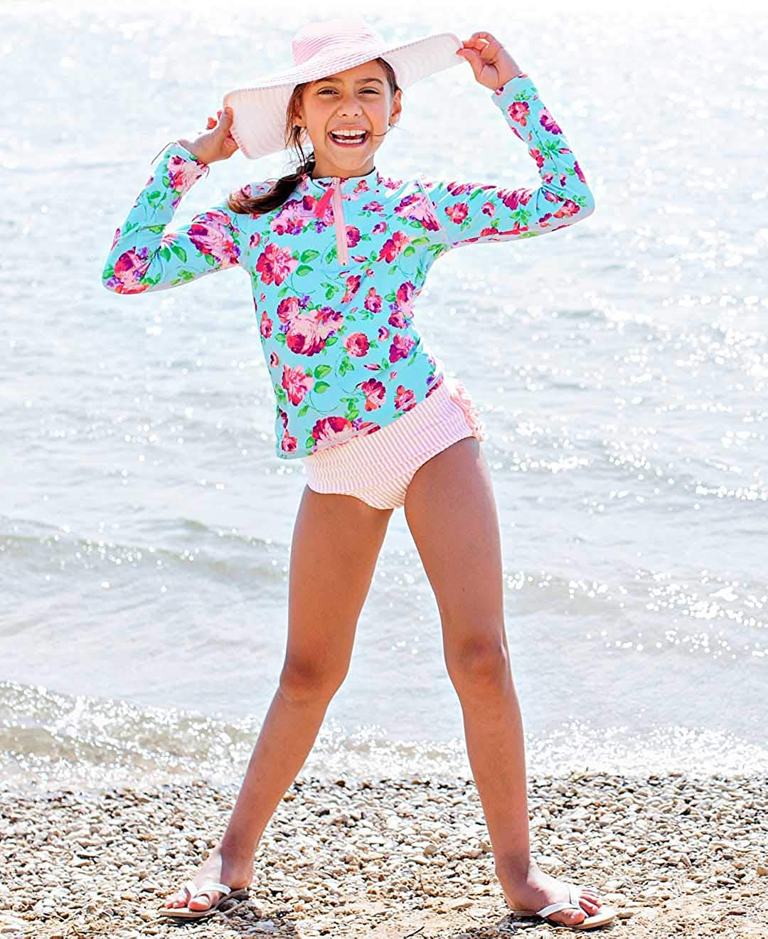 Sun Protection with Zipper RuffleButts Baby//Toddler Girls Long Sleeve Rash Guard 2 Piece Swimsuit Set w//UPF 50