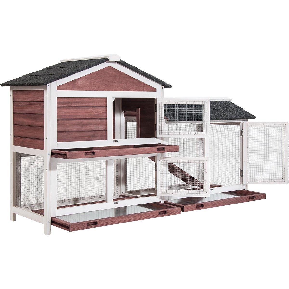 Amazon.com: Purlove Pet Rabbit Hutch Wooden House Chicken Coop for ...