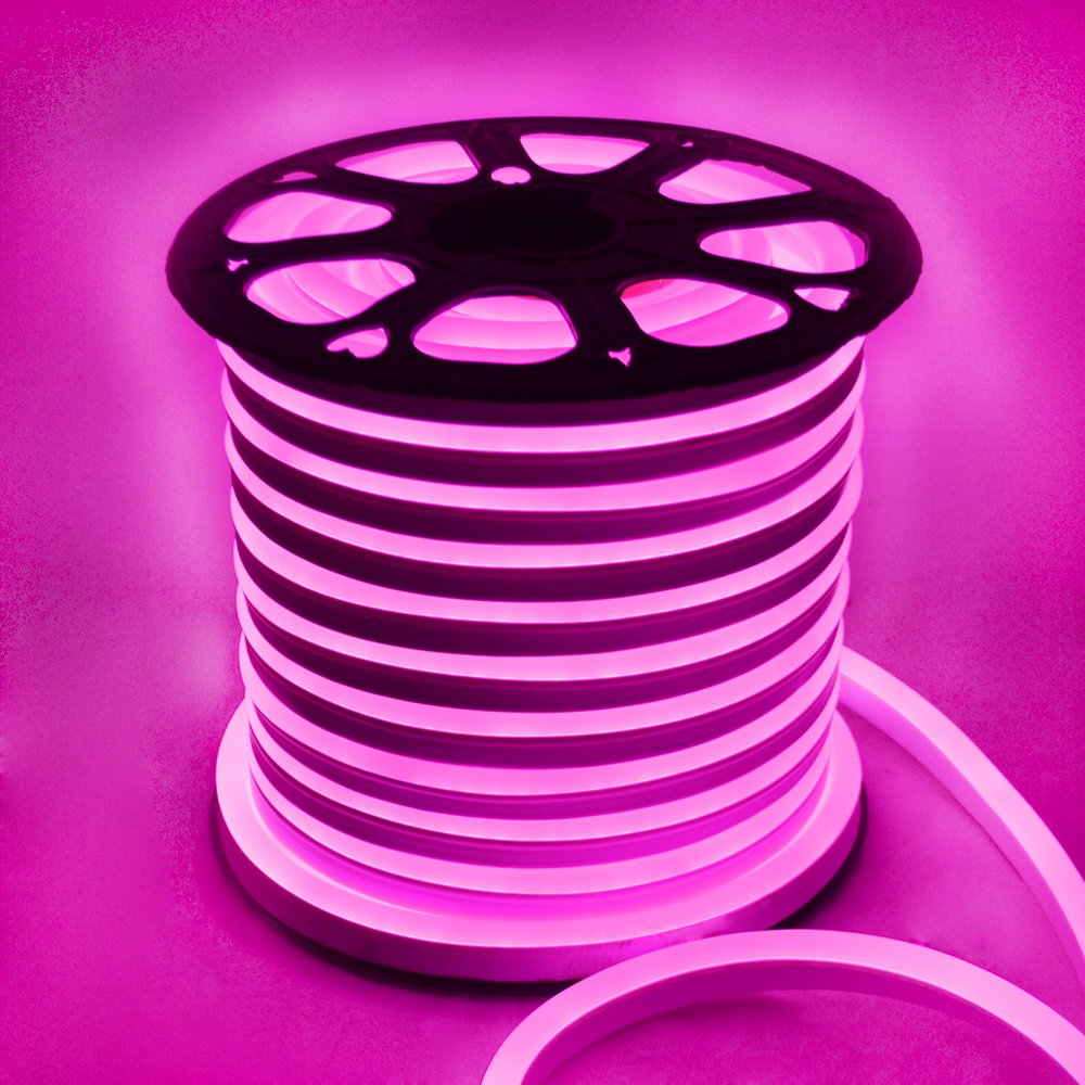 Smd5050 LED Neon Rope Light Flex Party Decorative Home Indoor Outdoor 110v (Pink, 150Ft)