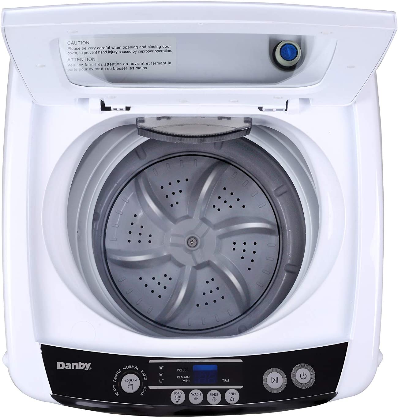Small Spaces Washing Machine in White-Compact Top Load Washer for Apartments Danby DWM030WDB-6 0.9 Cu.Ft