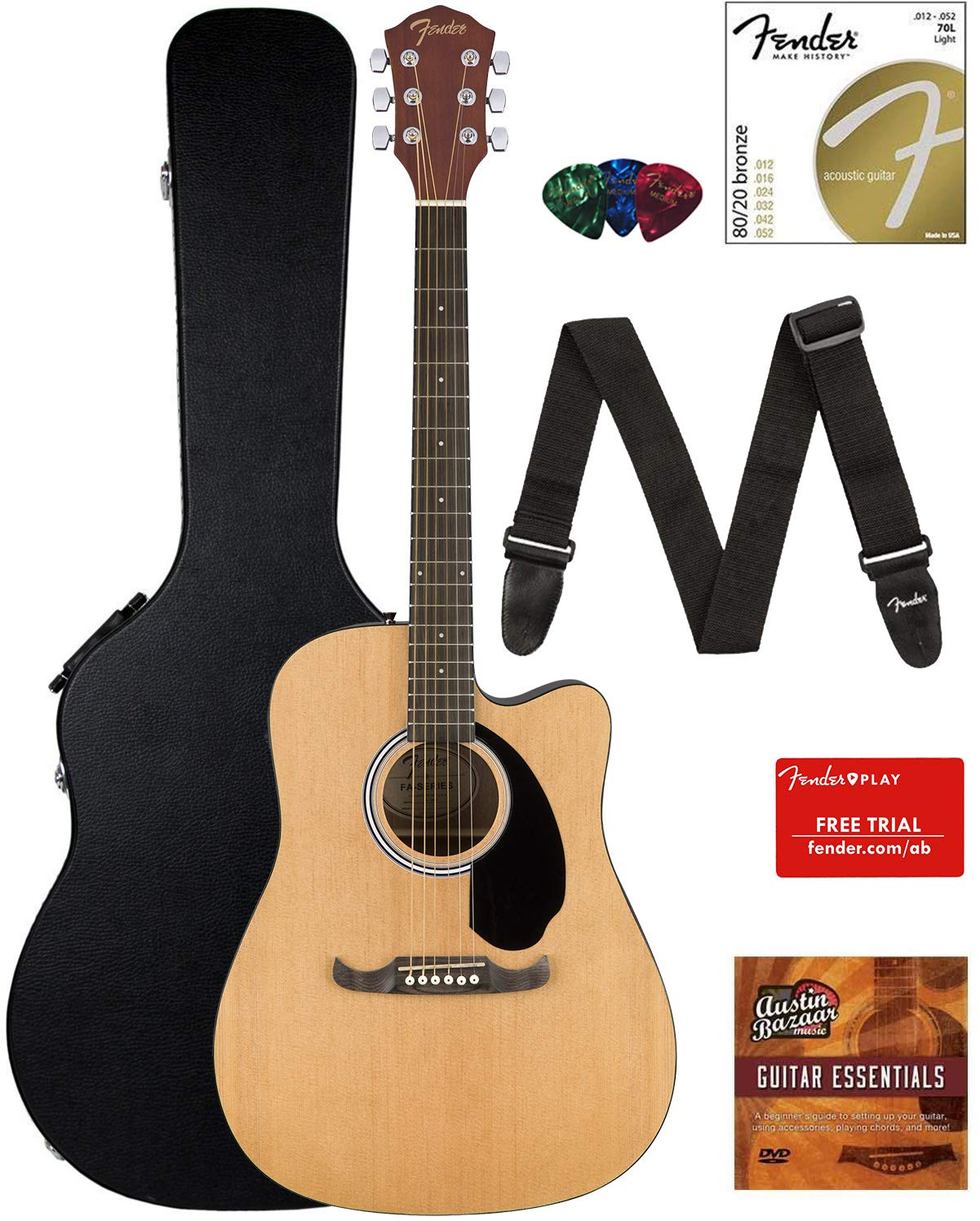 Fender FA-125CE Dreadnought Cutaway Acoustic-Electric Guitar - Natural Bundle with Hard Case, Strap, Strings, Picks, Fender Play Online Lessons, and Austin Bazaar Instructional DVD