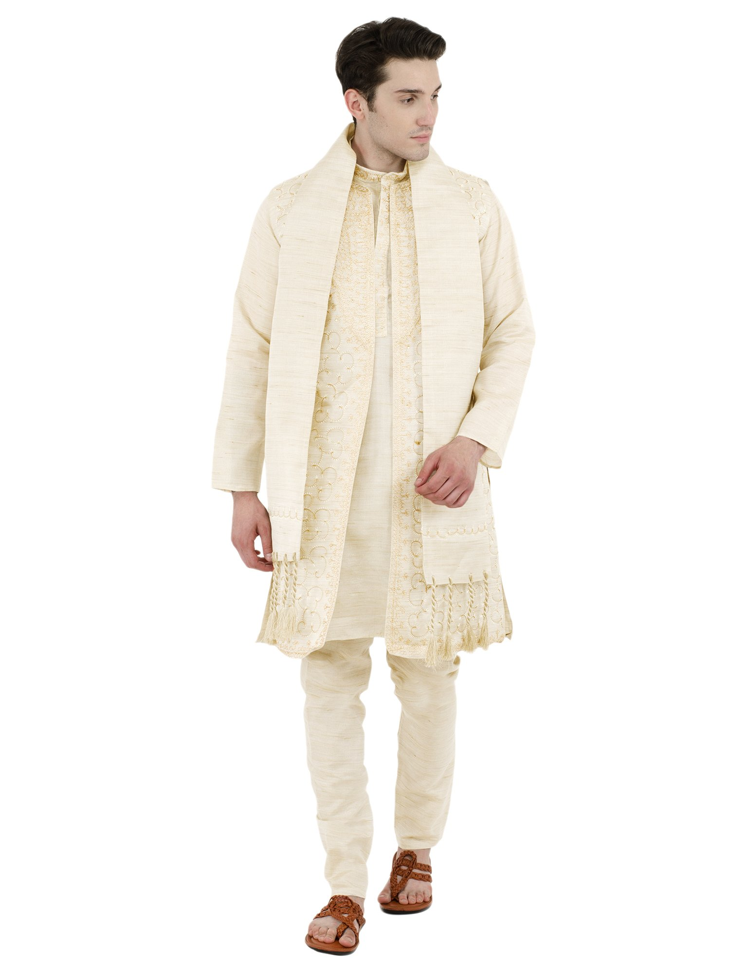Trendy Kurta Pajama Sherwani Stole Set Indian Mens Fashion Dress Bollywood Style 4-Pieces -L