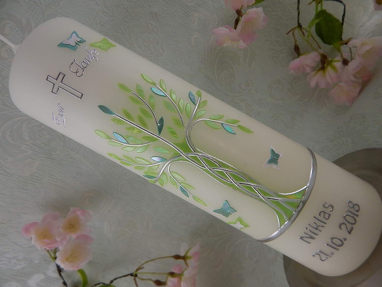 Taufkerze Lebensbaum mit Schmetterlinge grün silber modern Taufkerzen Mädchen Junge Baum des Lebens 250/70 mm inklusive Beschriftung